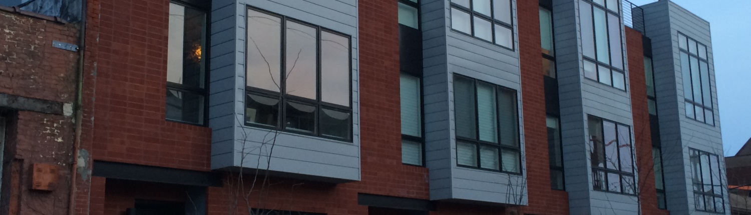 Red brick front, with custom stucco designs was completed in the Northern LIberties section of Philadelphia
