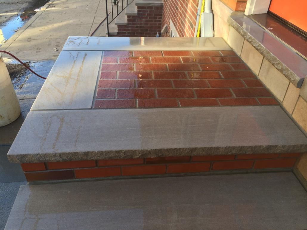 Custom brick and limestone steps